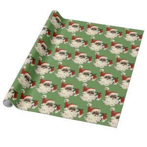 Vintage Black Santa Wrapping Paper