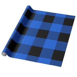 Vintage Blue Buffalo Plaid Wrapping Paper