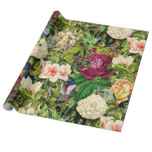 Vintage Botanical Garden With Bees and Butterflies Wrapping Paper