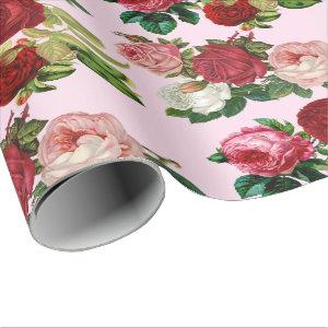 Vintage Botanical / Pink Rose Decoupage Craft or Wrapping Paper