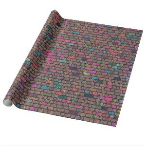 Vintage brick wall paint graffiti wrapping paper