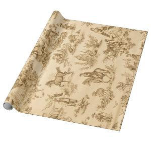 Vintage Brown and Ivory Toile Wrapping Paper