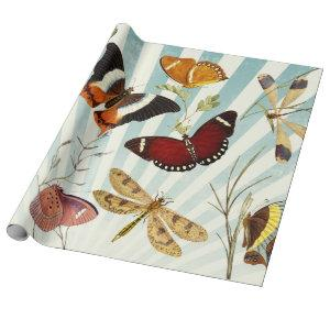 Vintage Butterfly and Dragonfly Wrapping Paper