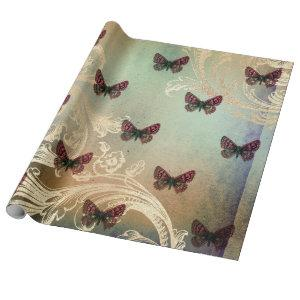 Vintage Butterfly Scroll Decoupage Wrapping Paper