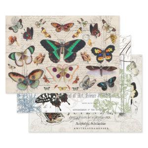 VINTAGE BUTTERFLYS HEAVY WEIGHT DECOUPAGE PRINTS WRAPPING PAPER SHEETS