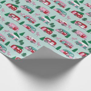 Vintage Campers red and pink novelty christmas