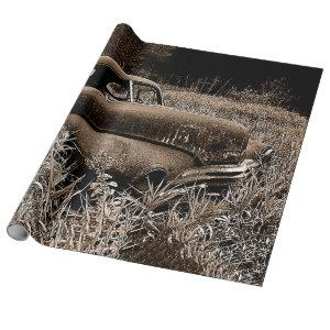 Vintage Car Old Antique Sepia Rustic Decoupage Wrapping Paper