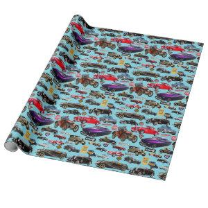 Vintage Cars and Signs Wrapping Paper
