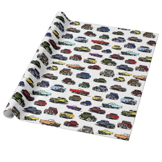 Vintage Cars Illustrations Random Pattern Wrapping Paper