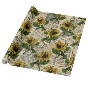Vintage Catalog and Sunflowers Wrapping Paper