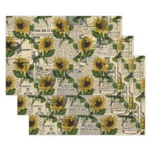 Vintage Catalog and Sunflowers Wrapping Paper Sheets