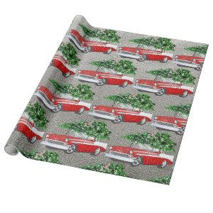 Vintage Chevy with Christmas Tree Silver Back Wrapping Paper