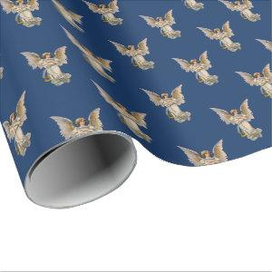 Vintage Christmas Angel Dark Blue Holiday Wrapping Paper