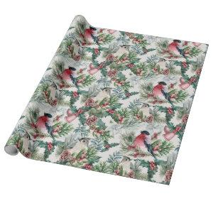 Vintage Christmas Birds and pines floral pattern