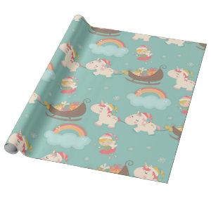 Vintage Christmas Cute Unicorn Wrapping Paper