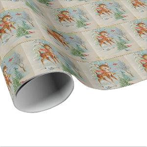 Vintage Christmas deer tiled party wrap Wrapping Paper