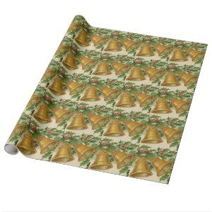 Vintage Christmas Gold Bells & Frozen Holly Wrapping Paper