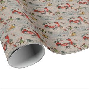 Vintage Christmas on the farm tiled party wrap Wrapping Paper