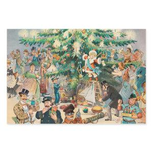 Vintage Christmas Tree Holiday Celebration Wrapping Paper Sheets
