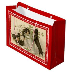 Vintage Christmas Victorian cute dachshund dogs Large Gift Bag