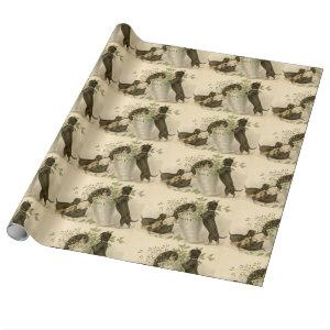 Vintage Christmas Victorian cute dachshund dogs Wrapping Paper