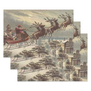 Vintage Christmas Victorian Santa Claus Wrapping Paper Sheets