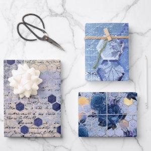 Vintage Classic Blue Bee Flowers Mix and Match Wrapping Paper Sheets