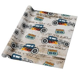 Vintage Classic Hot Rod Car Hot Rods & Road Trips Wrapping Paper
