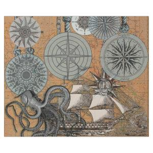 Vintage Compass Rose Octopus Art Print Drawing Wrapping Paper