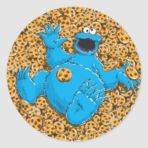 Vintage Cookie Monster and Cookies Classic Round Sticker