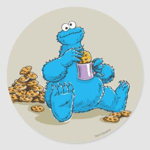 Vintage Cookie Monster Eating Cookies Classic Round Sticker