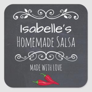 Vintage Decorative made with Love Hot Pepper Salsa Square Sticker