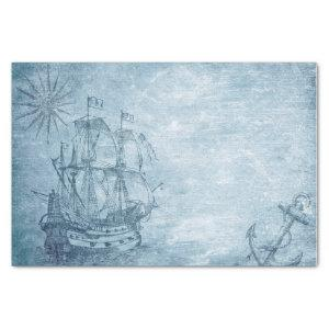 Vintage Decoupage Sailing Ship and Anchor on Blue Tissue Paper