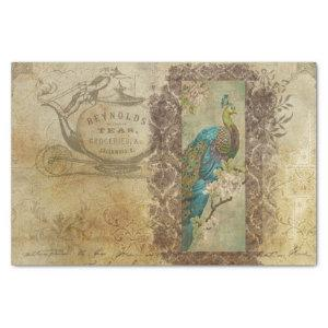 Vintage Decoupage Victorian Tea Peacock and Script Tissue Paper