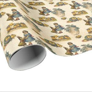Vintage Easter Bunny and girl party wrap Wrapping Paper