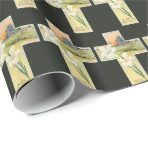 Vintage Easter cross Holiday party wrap Wrapping Paper