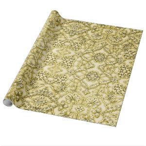 Vintage Embossed Metallic Gold Foil Floral Design Wrapping Paper