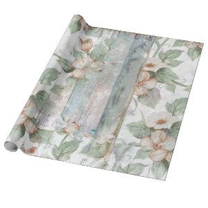 Vintage Floral and Wood Shabby Chic Wrapping Paper