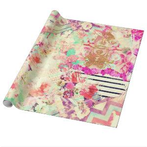 Vintage Floral Aztec Retro Pink Patchwork Wrapping Paper