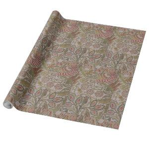 Vintage Floral Bird William Morris Dove and Rose Wrapping Paper