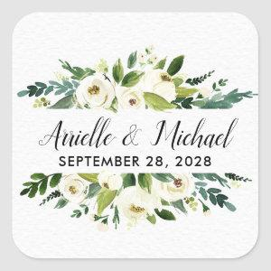 Vintage Floral Greenery Garden Wedding Favors Square Sticker