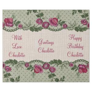 Vintage Floral Pink Linen Lace Personalized Wrapping Paper