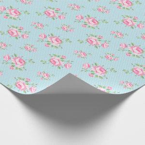 Vintage floral roses classic polka-dot teal wrapping paper