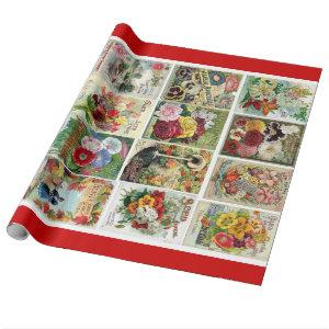 Vintage Flower Seed Catalogs Mosaic Gift Wrap