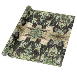 Vintage flying fox bat wrapping paper