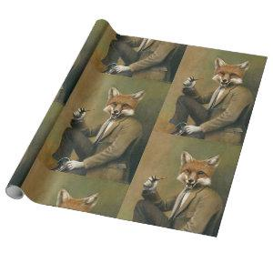 Vintage Fox In Suit Gift Wrapping Paper