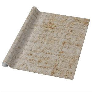 Vintage French Brown Tan Text Old Parchment Paper