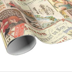 Vintage French Chocolate Advertisement Collage Wrapping Paper