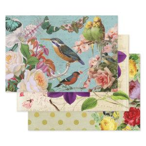 Vintage French Floral Ephemera  Decoupage Collage Wrapping Paper Sheets