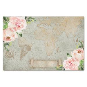 Vintage French Floral Rose Old World Map Decoupage Tissue Paper
